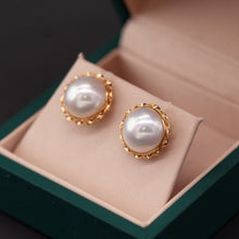 Load image into Gallery viewer, Retro Golden Setting Mabe Stud Earring