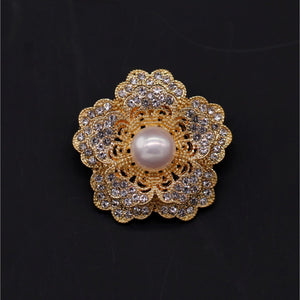 Camellia Cultured Pearl Brooch