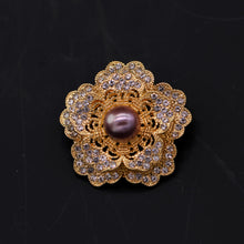 Load image into Gallery viewer, Camellia Cultured Pearl Brooch