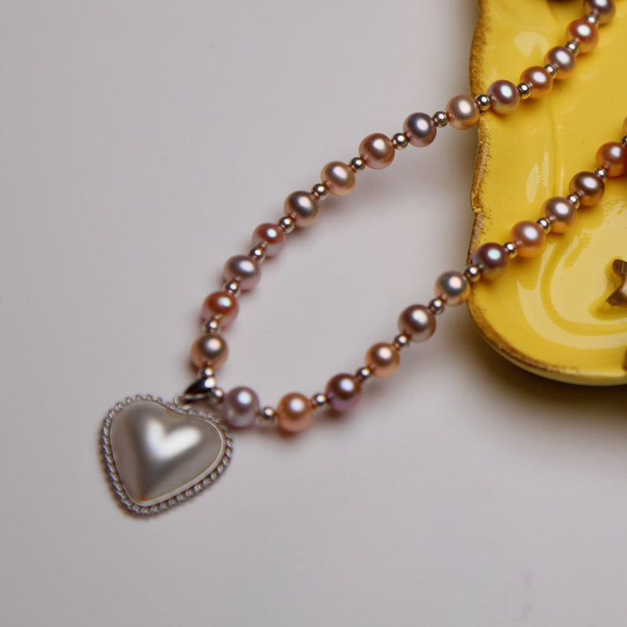 Mabe Heart & Pink Pearls Necklace