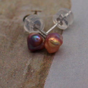 Rainbow Keshi Stud Earrings