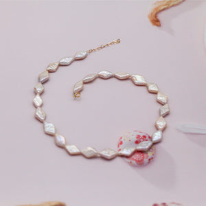 Rhombus Baroque Pearl Choker and Bracelet Set