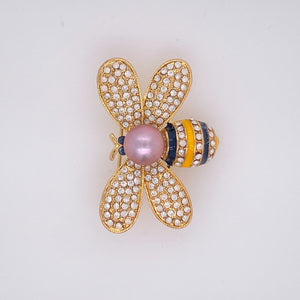 Chubby Bee Cultured Pearl Brooch