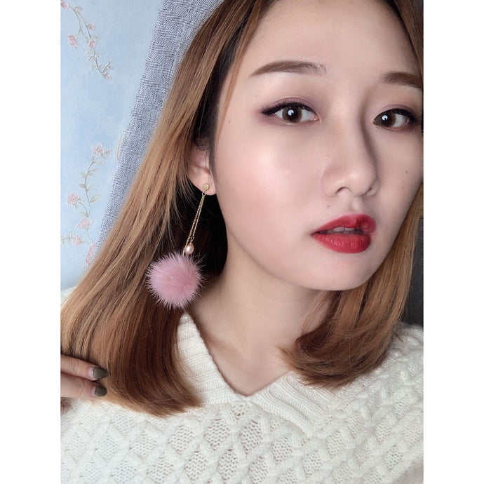 Pearls & Genuine Fur Earrings