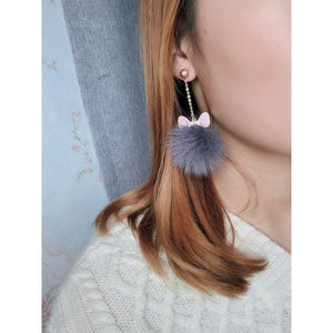 Furry Cat Pearls & Genuine Fur Earrings