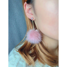 Load image into Gallery viewer, Furry Cat Pearls & Genuine Fur Earrings