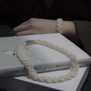 Braided Pearl Necklace & Bracelet Set