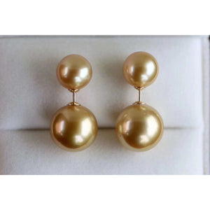 Golden Double Pearl Earrings