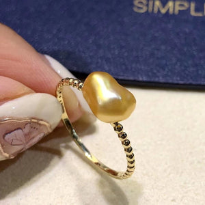 South Sea Golden Keshi Pearl Ring