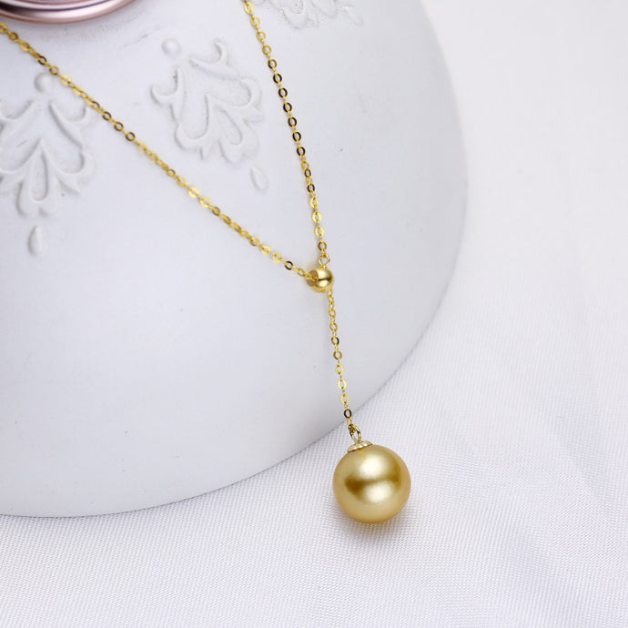Y-Shape South Sea Golden Pearl Chain Necklace