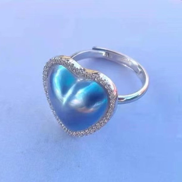 Heart-shaped Mabe Pearl Ring
