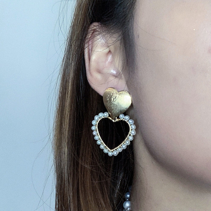 Golden Heart Pearl Earrings