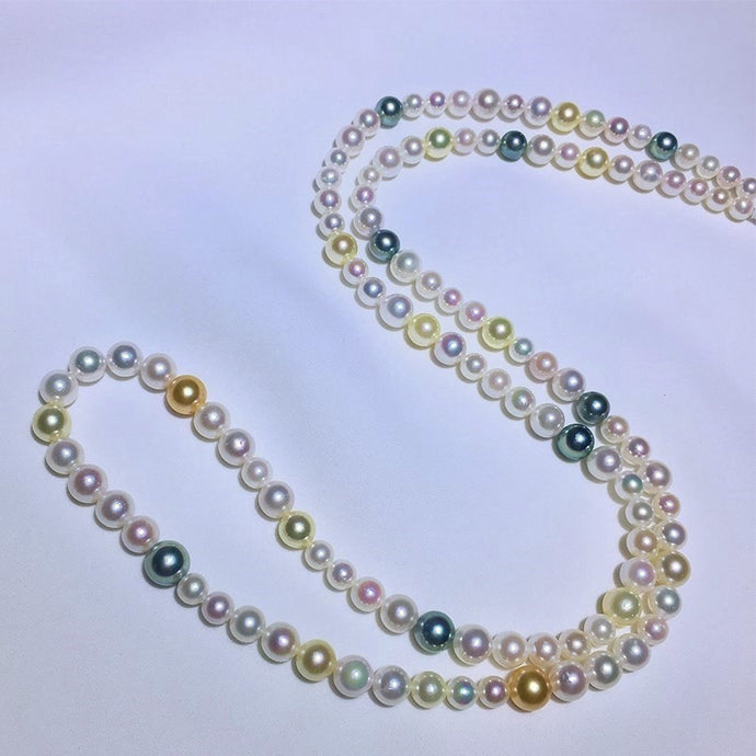 Multi-Color Akoya & Tahitian Pearl Long Necklace