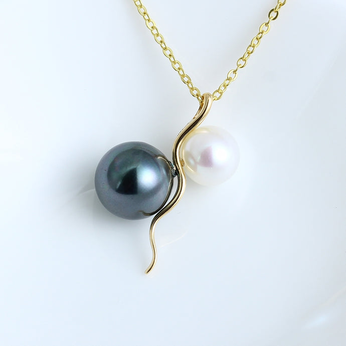 Black and White Pearl Chain Necklace