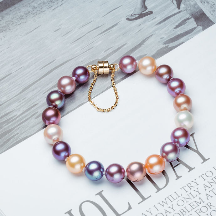 S115 Braided Hand Strap Cultured Freshwater Baroque Pearl (3.5-4mm) . Ensemble de bracelets Stretch