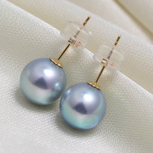 Load image into Gallery viewer, Blue Akoya Stud Earrings