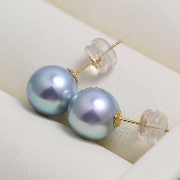 Blue Akoya Stud Earrings