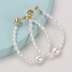 Oval Baby Pearl Hook Earrings