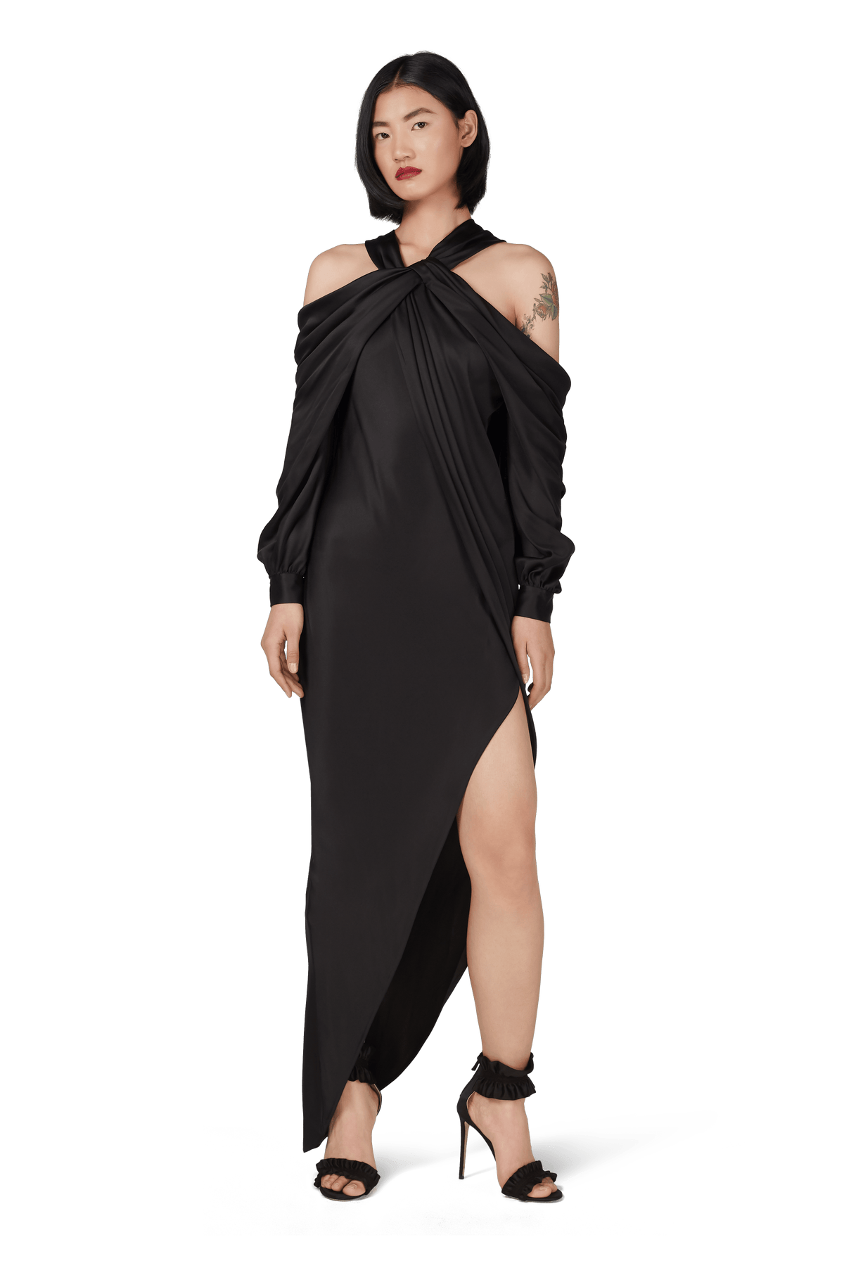 Black Double Silk Satin Off The Shoulder Draped Dress