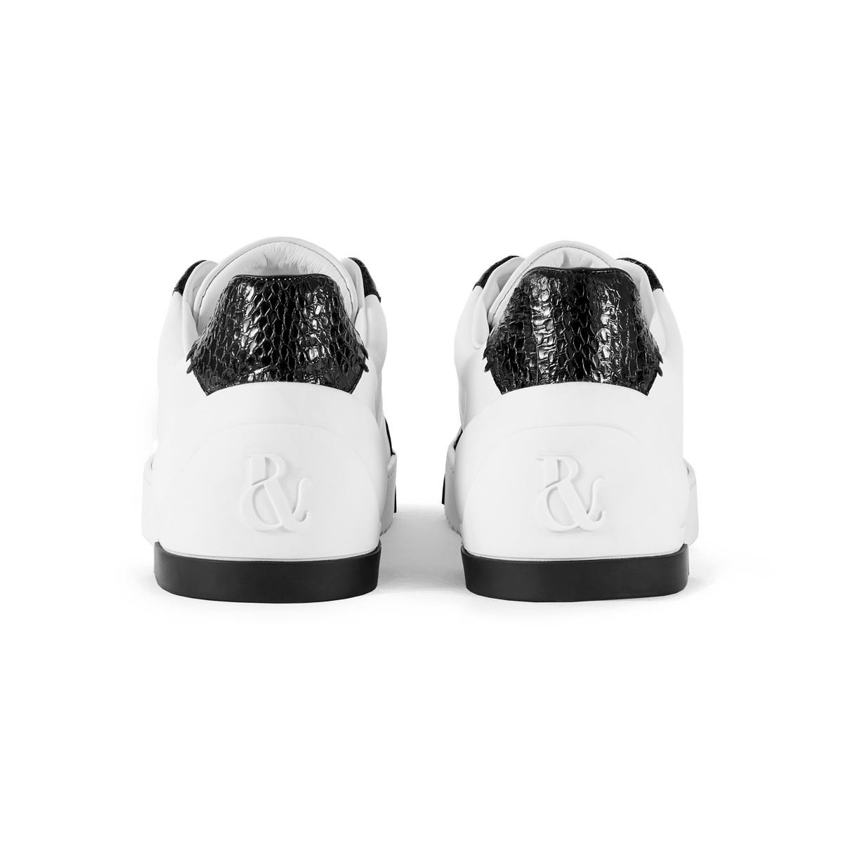 White Leather and Black Elaphe Sneakers