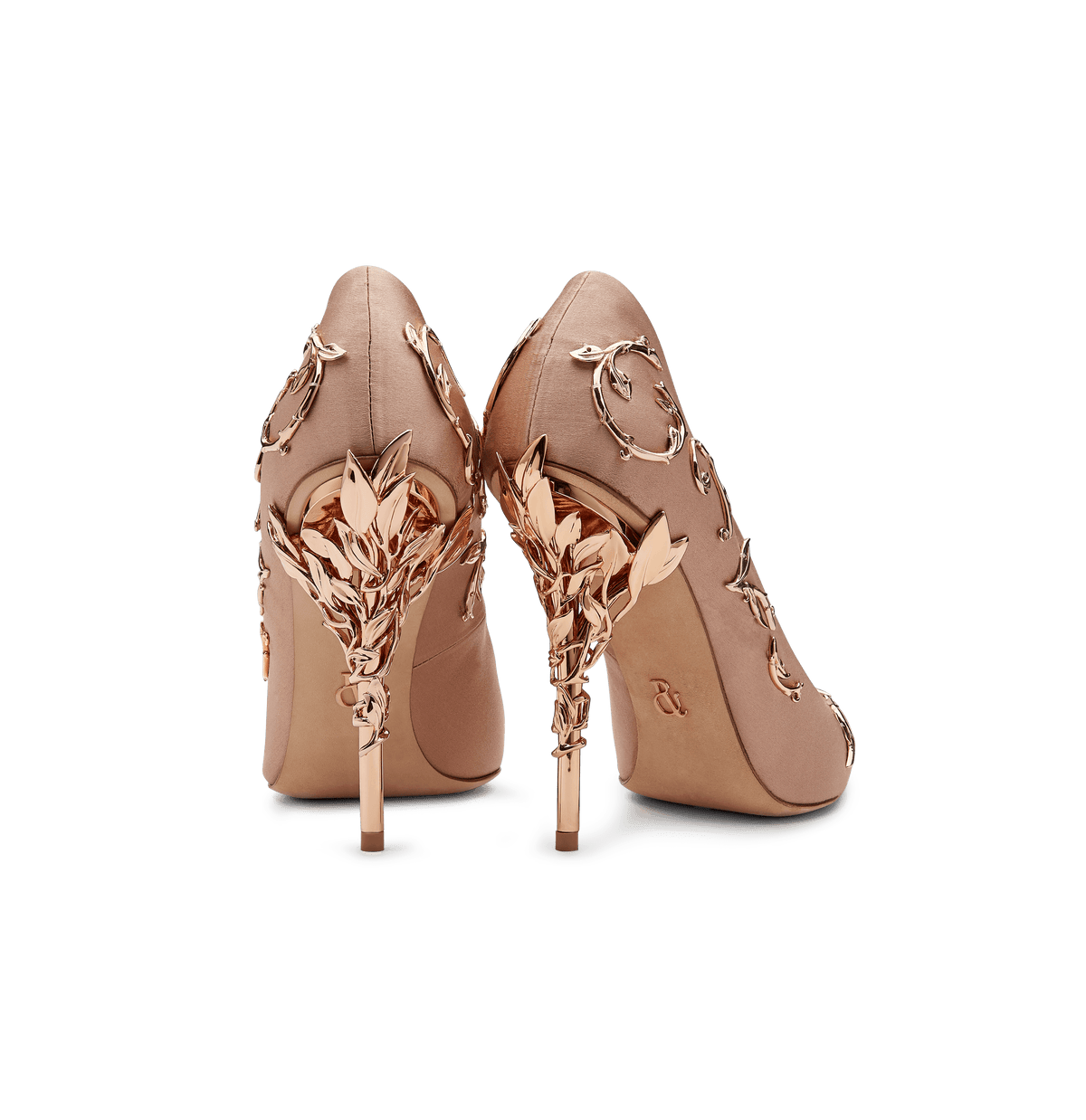 Vintage Pink Satin Eden Pumps with Rose Gold Leaves