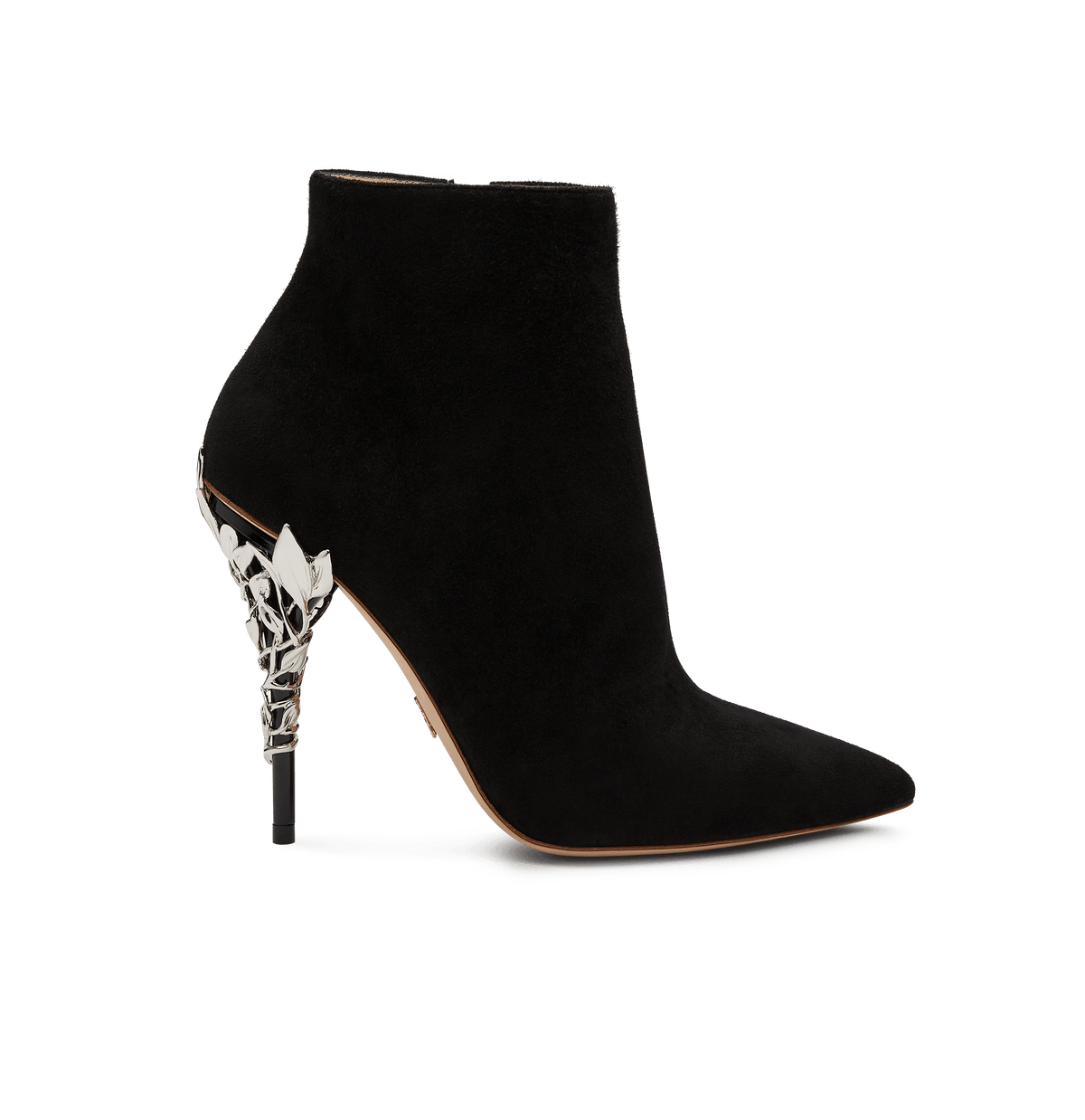 Black Suede Eden Ankle Boots with Silver Leaves