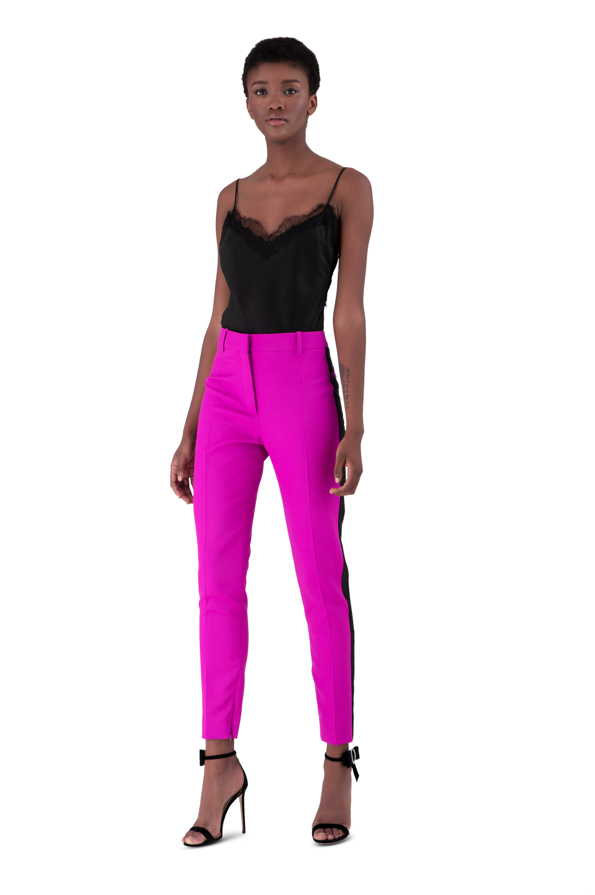 Fuchsia Light Wool Skinny Tailored Trousers