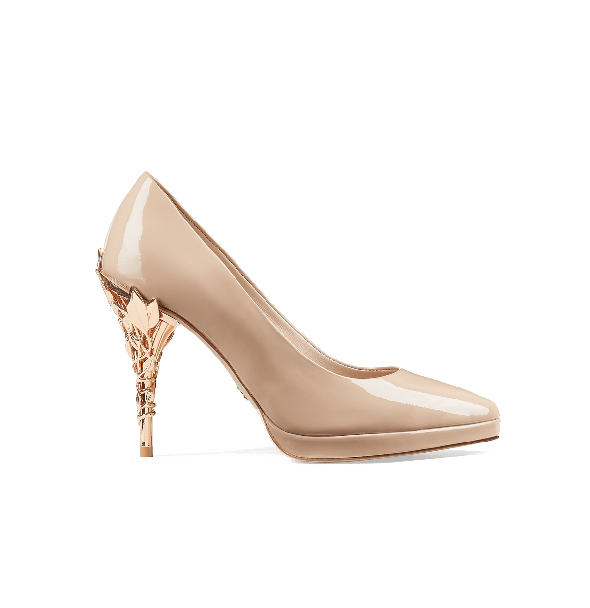 Nude Patent Leather Eden Platform Heels with Rose Gold Leaves