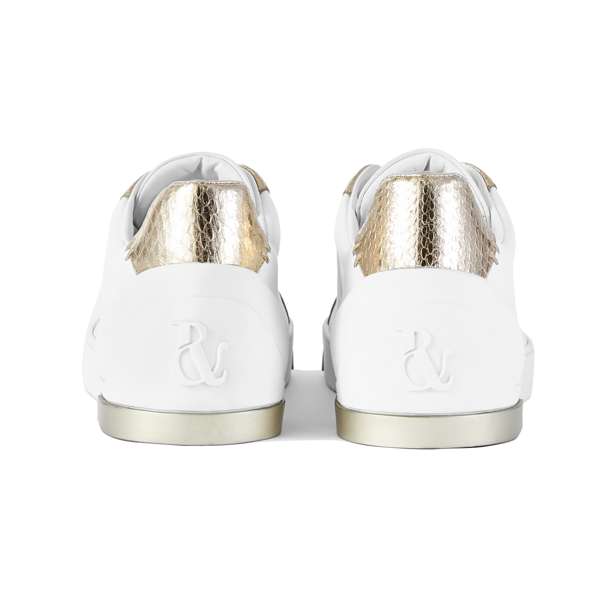White Leather and Gold Elaphe Sneakers