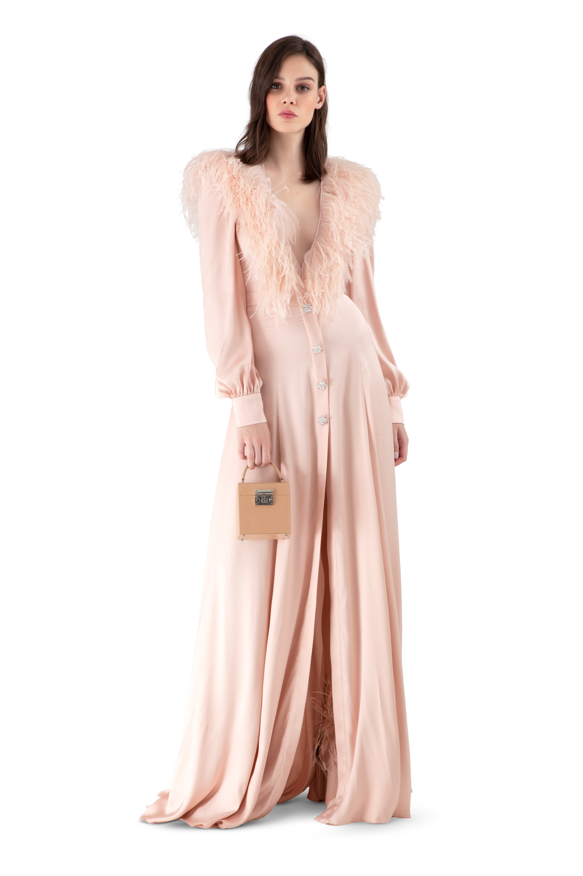 Pale Pink Double Silk Satin Feather Trimmed Ball Gown