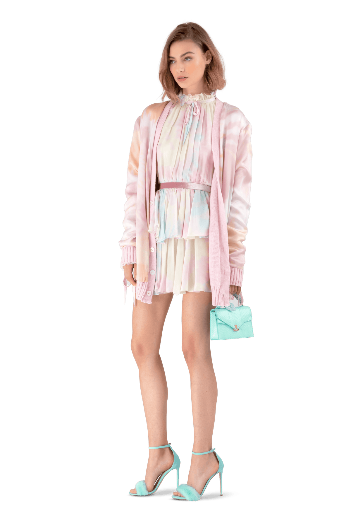 Pink Cashmere And Silk Oversized Reversible Cardigan