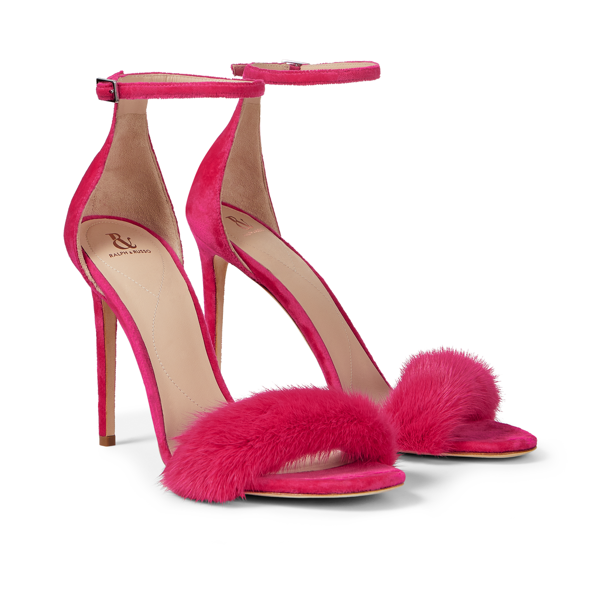 Hot Pink Mink and Suede Sandals
