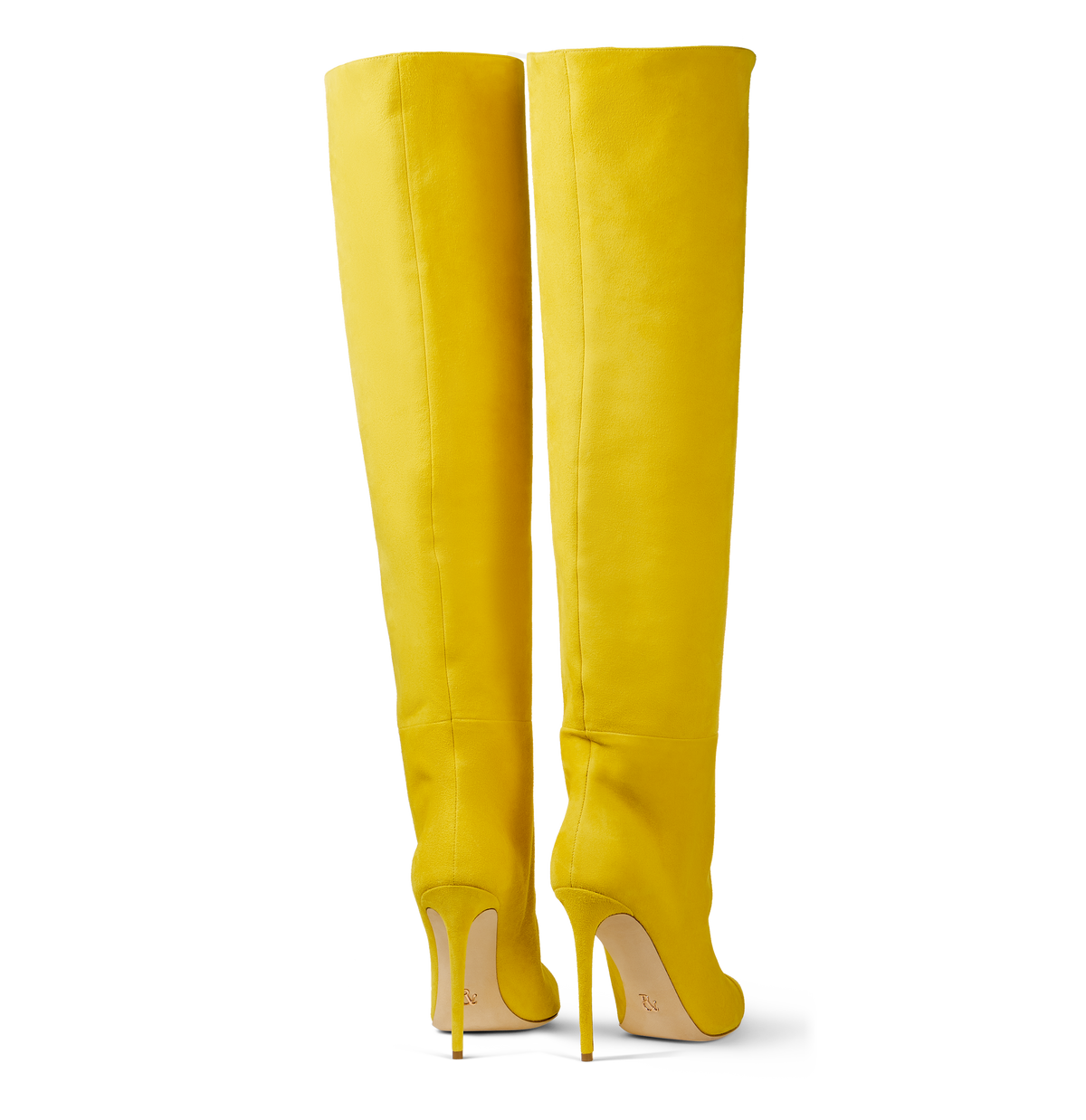 Yellow Suede Over the Knee Boots