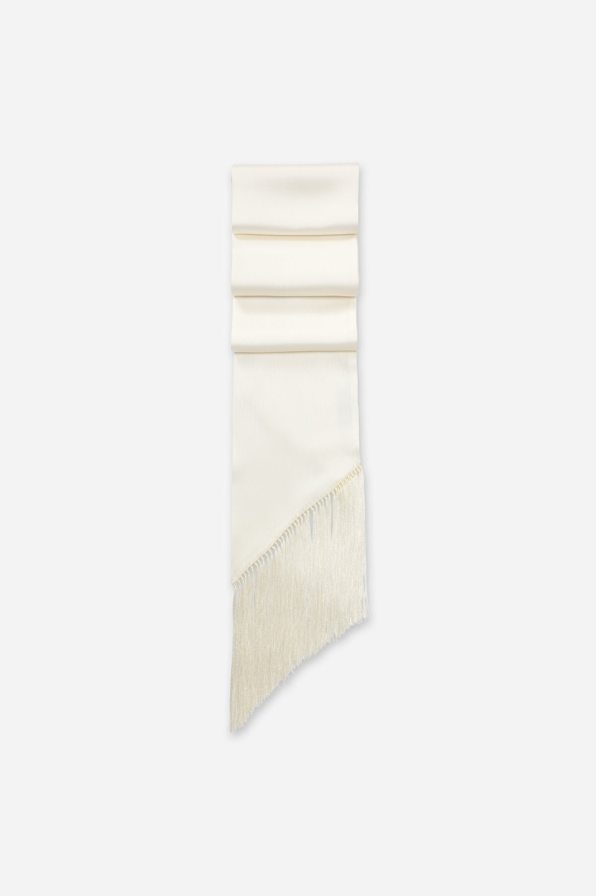 White Double Satin Long Thin Fringe Scarf