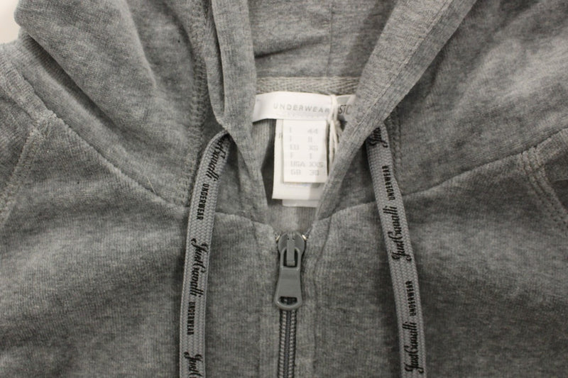 Gray zipper hooded cotton sweater
