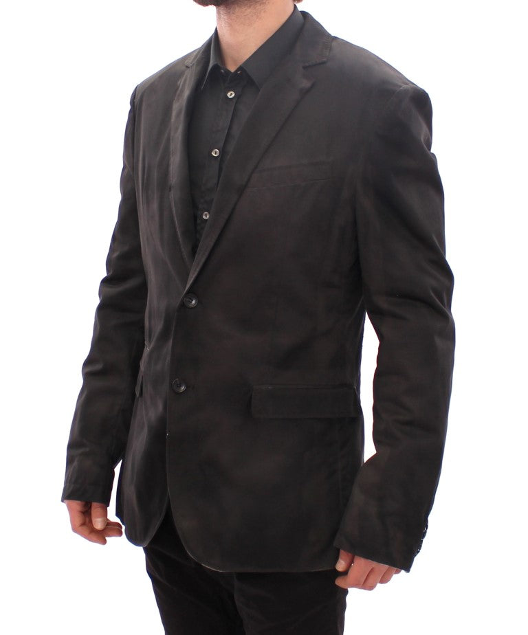 Black wash two button blazer
