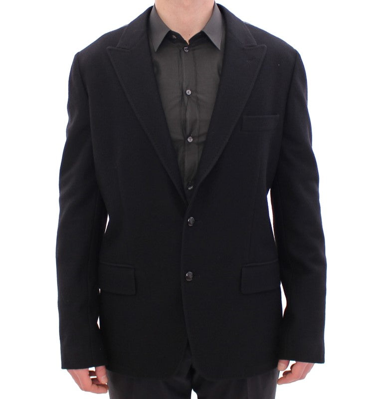Black wool slim fit blazer