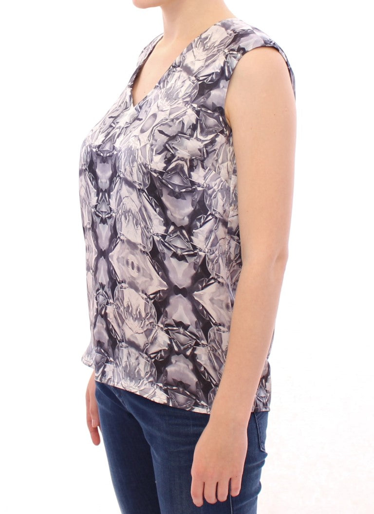 Gray Blue Silk Sleeveless Top Shirt Blouse