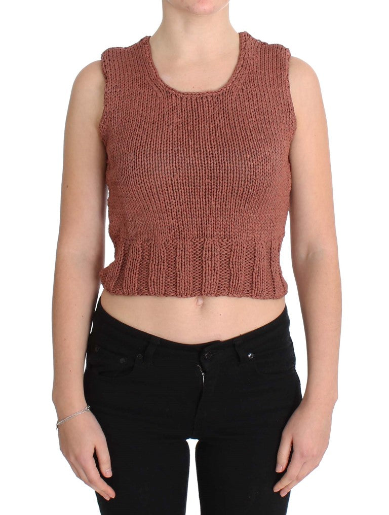 Red Cotton Blend Knitted Sleeveless Sweater