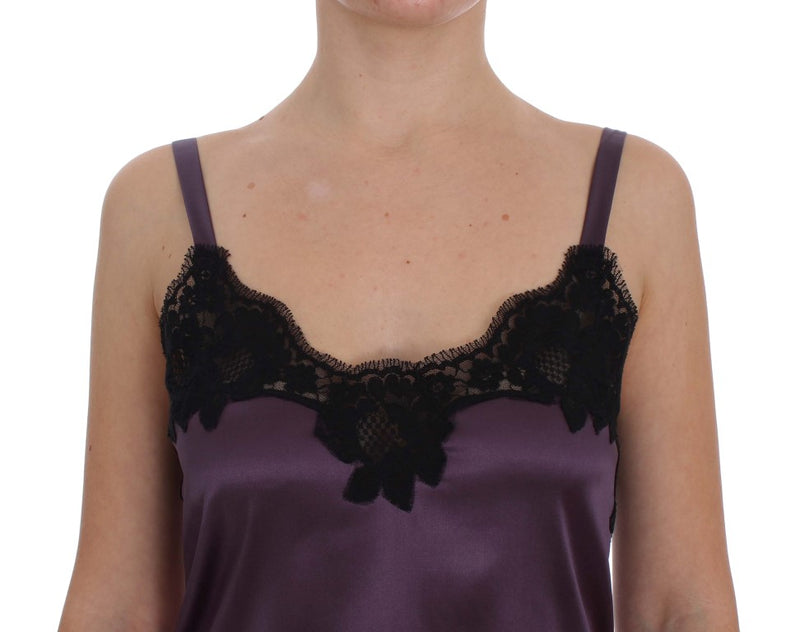Purple Silk Black Lace Lingerie Dress