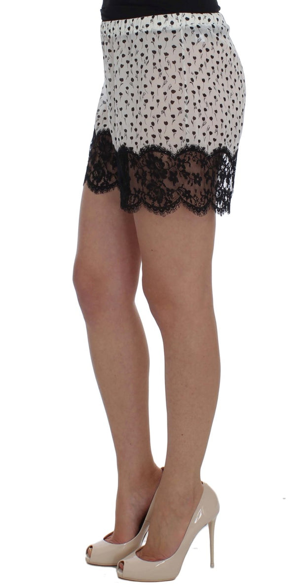 White Black Floral Lace Silk Sleepwear Shorts