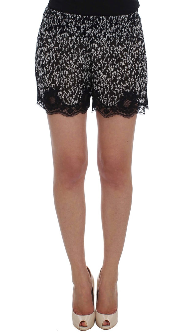 Black White Floral Lace Silk Sleepwear Shorts