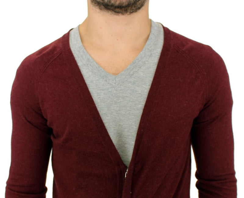 Bordeaux zipper cardigan sweater