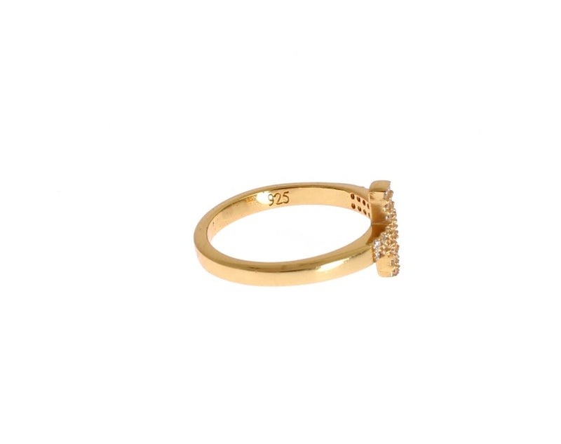 Clear CZ Cross Gold 925 Ring