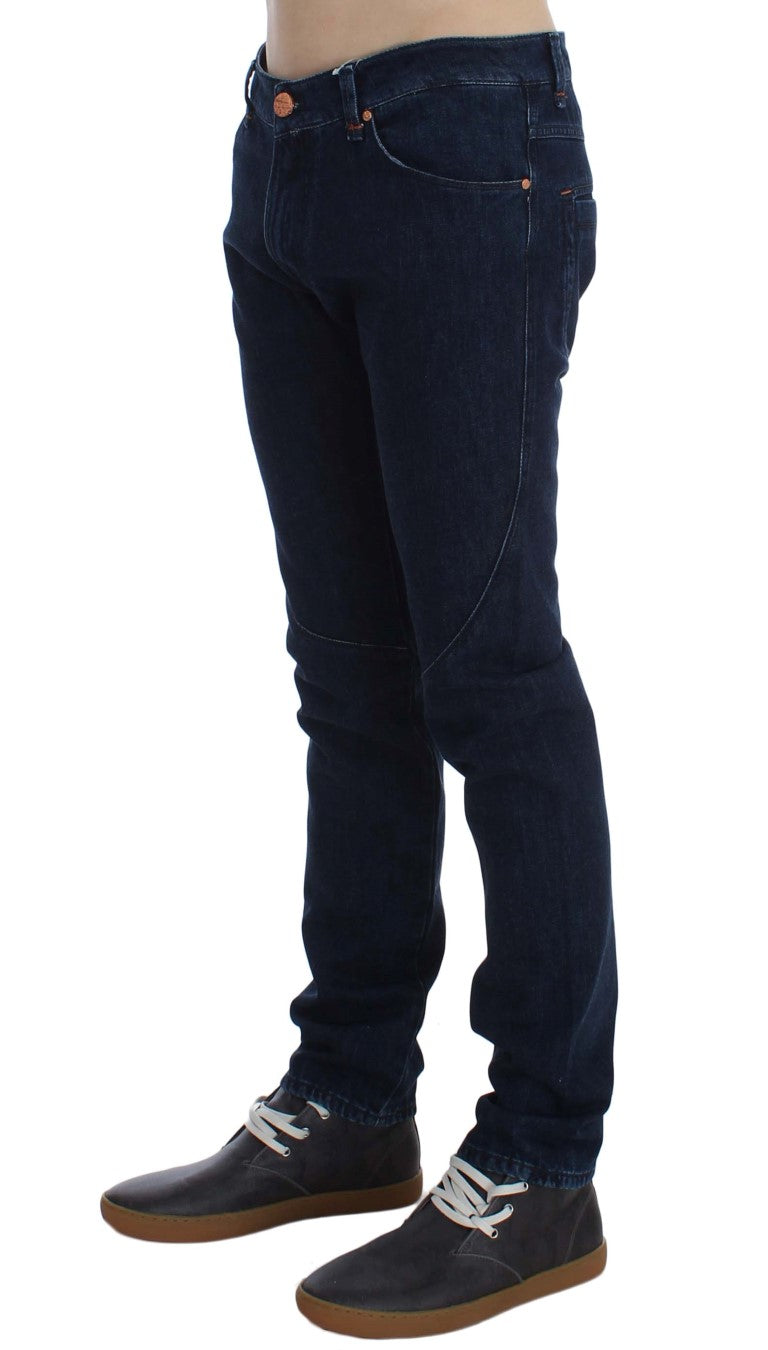 Dark Blue Cotton Slim Skinny Fit Jeans