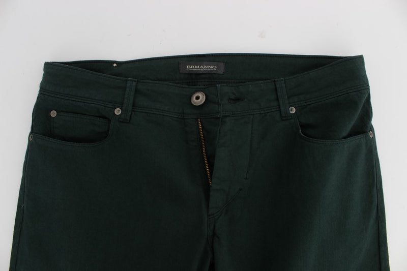 Green Cotton Denim Stretch Straight Fit Jeans