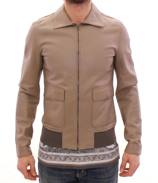 Beige Leather Jacket Biker