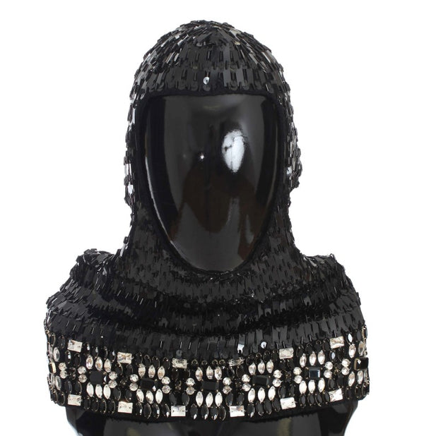 Black Knitted Wool Crystal Beaded Hood Scarf Hat
