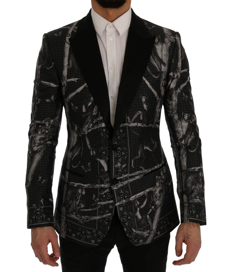 Black Monkey Silk Slim Fit Blazer Jacket