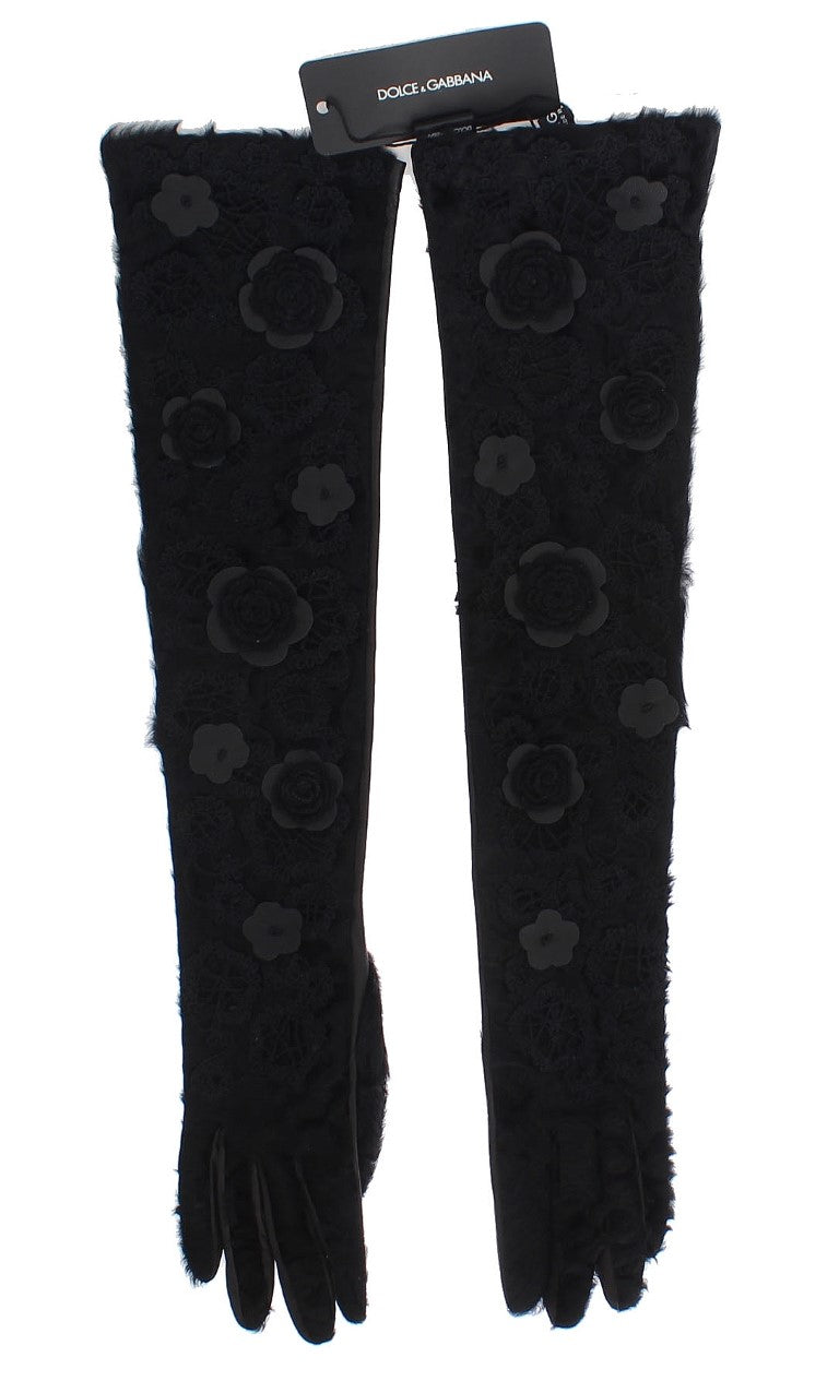 Black Leather Floral Xiangao Fur Gloves